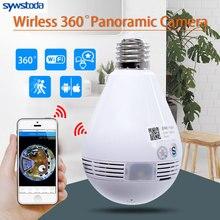 หลอดไฟไร้สายกล้อง IP Wifi 960P Panoramic FishEye Home Security กล้องวงจรปิดกล้อง 360 องศา Night Vision