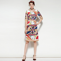 Milan Catwalk New Quality Runway Designer Spring Summer 2018 Fashion Women'S Party Beach Boho Print Poker Queen Jacquard Dress