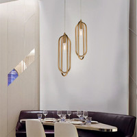 Postmodern Gold Ring Dining Room Pendant Lamp Art Creative Bar Dinner Room Decoration Light Iron Suspension Light Free Shipping