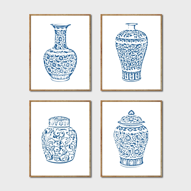 Chinoiserie Vases Wall Art Print