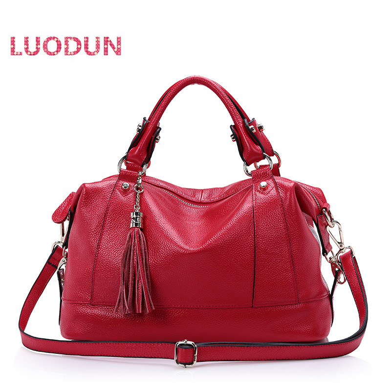 LUODUN 2018 new Genuine Leather handbags shoulder bag tassels the first layer Cowhide handbags ladies bag Messenger bag women genuine leather handbags ladies personality new head layer cowhide shoulder messenger bags hand rub color female handbags