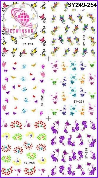 10 x средний лист рисунки бабочек для ногтей Красота ногтей татуировки наклейка средняя вода наклейка