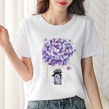 T shirt Women Beautiful flower printed t-shirt Summer Fashio