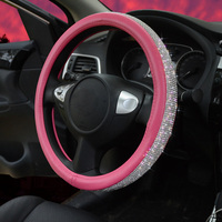 Pink Crystal Car Steering Wheel Cover with Bling Bling Rhinestones for Girls Lady Leather Steering Wheel Case Car Accessories