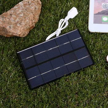 USB Solar Panel Outdoor 5W 5V Portable Solar Charger Pane Climbing Fast Charger Polysilicon Tablet Solar Generator Travel 2
