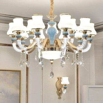 현대 led 샹들리에 거실 중단 된 램프 유럽 luminaires 침실 조명 홈 비품 크리스탈 매달려 조명