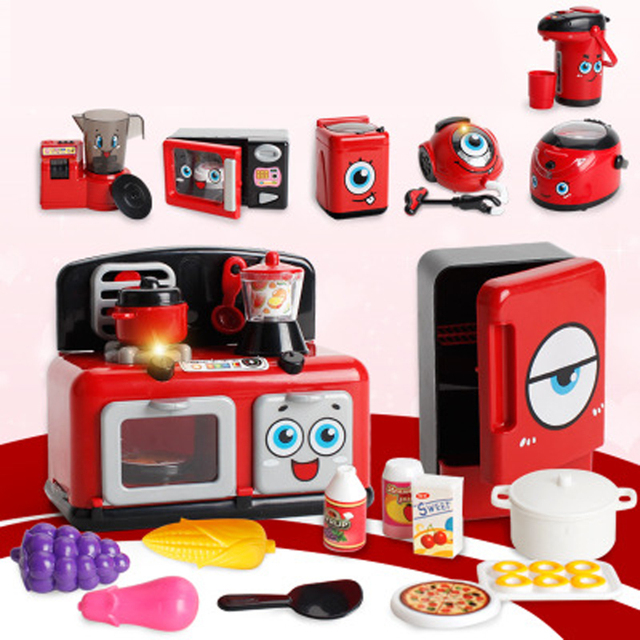 Kids Kitchen Toys Laminate Countertops Children Home Appliance Girl Goods Sets Pretend Play Miniature Food Cooker Role Playing Games