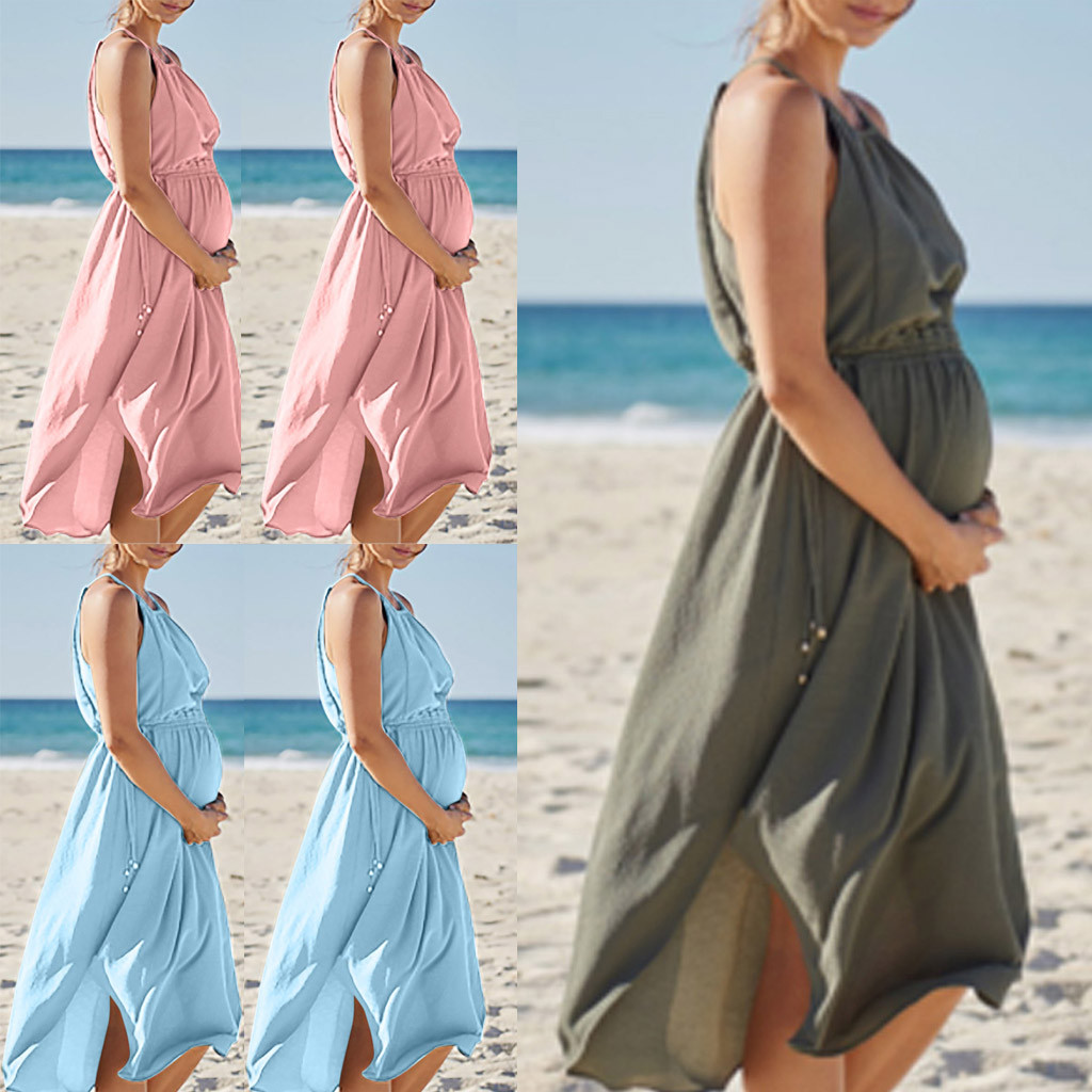 Huang Neeky W#4 2019 NEW Fashion Casual Women Sleeveless Pregnant Maternity Dress Solid Skirt Breastfeeding Sexy Beach Summer