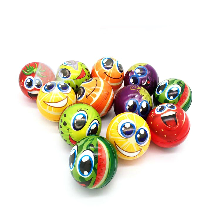 6.3cm Cartoon Foam Toys Anti Stress Face Ball Cute Fruit Ball Soft Sponge Squeeze Toys Autism Mood Relief Healthy Toys For Kids