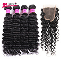 Brazilian Virgin Hair with Closure 4Bundles with Closure Deep Wave with Closure 7A Brazilian Deep Curly Virgin Hair with Closure