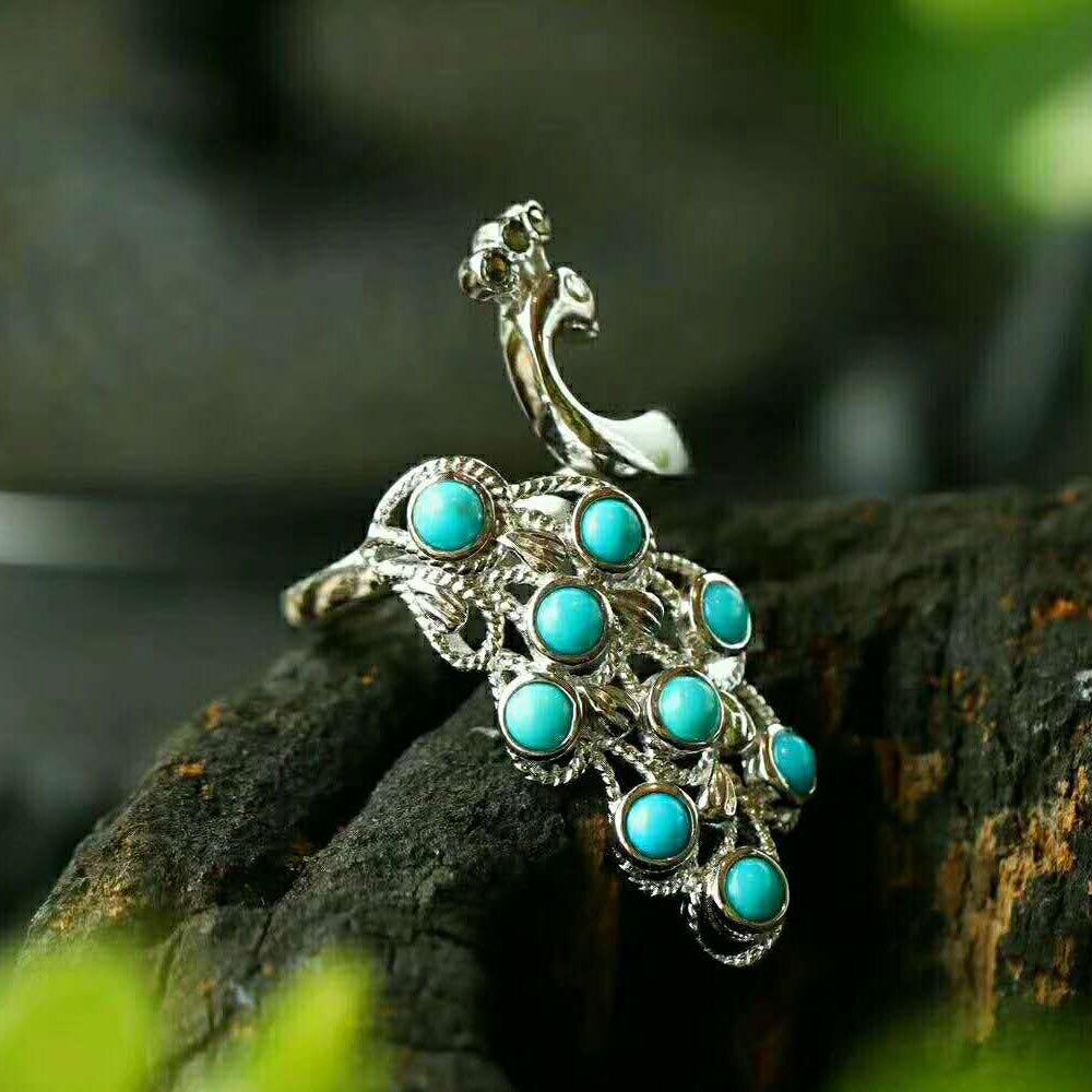 RADHORSE 925 bagues en argent pour femmes bijoux fins Turquoise paon modélisation bague en argent Sterling réglable en argent