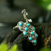 RADHORSE 925 Silver Rings for Women Fine Jewelry Turquoise Peacock Modeling Sterling Silver Ring Adjustable Silver