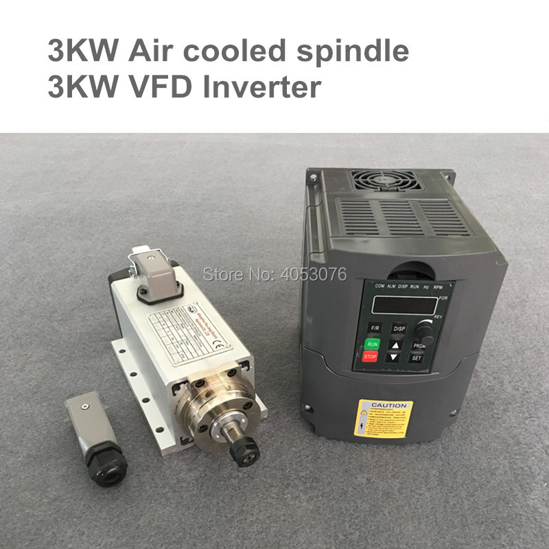 CNC Milling Spindle motor Air Cooled Spindle 3KW 4 Bearings+ 3.0kw VFD/inverter variable frequency driver spindle speed control