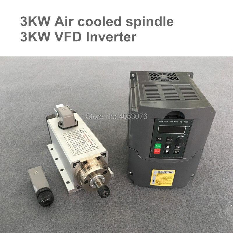 CNC moteur De Broche De Fraisage Refroidi Par Air Broche 3KW 4 Roulements + 3.0kw VFD/onduleur pilote à fréquence variable vitesse de rotation contrôle