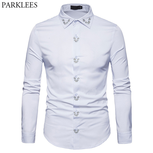 e2d3eb8e6bf Mens Hipster Embroidery Shirt 2018 Casual Slim Fit Long Sleeve Button Down  Dress Shirts Men Brand Work Shirt For Business Man
