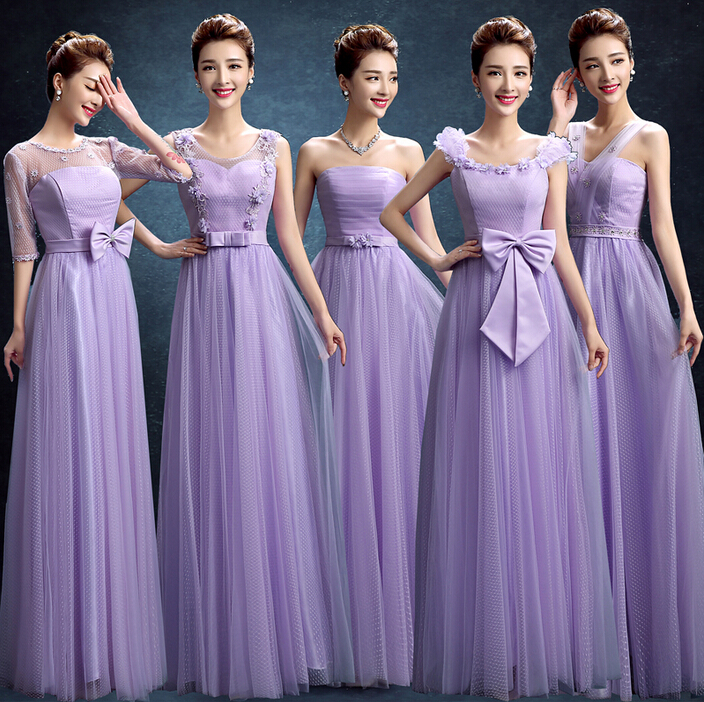 Teenage Bride Made Ladies Girls Purple Dresses Tulle Lilac Latest Long Bridesmaid Gowns Dress Ballgown Free Shipping B3475 Dress Up Free Games Dress Ringdress Products Aliexpress