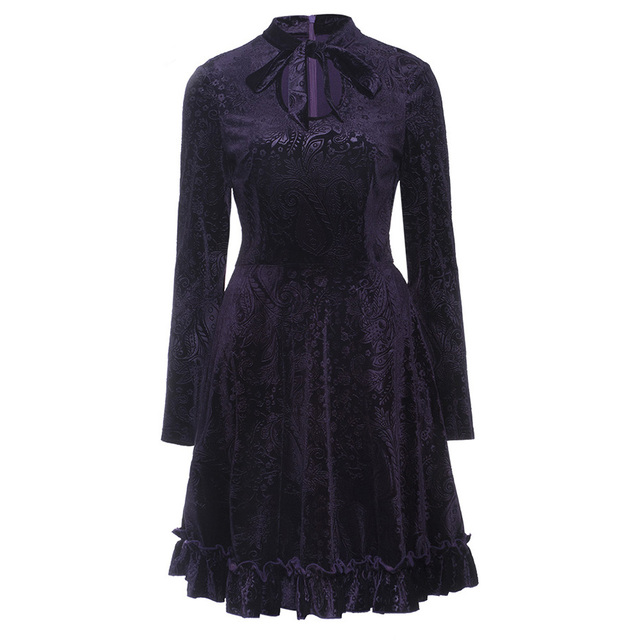 fe253c89eac3b Women Gothic Dress Fall Dark Purple 3D Floral Print Velvet A Line Pleated  Goth mini Dress Female Elegant Party Goth Dresses