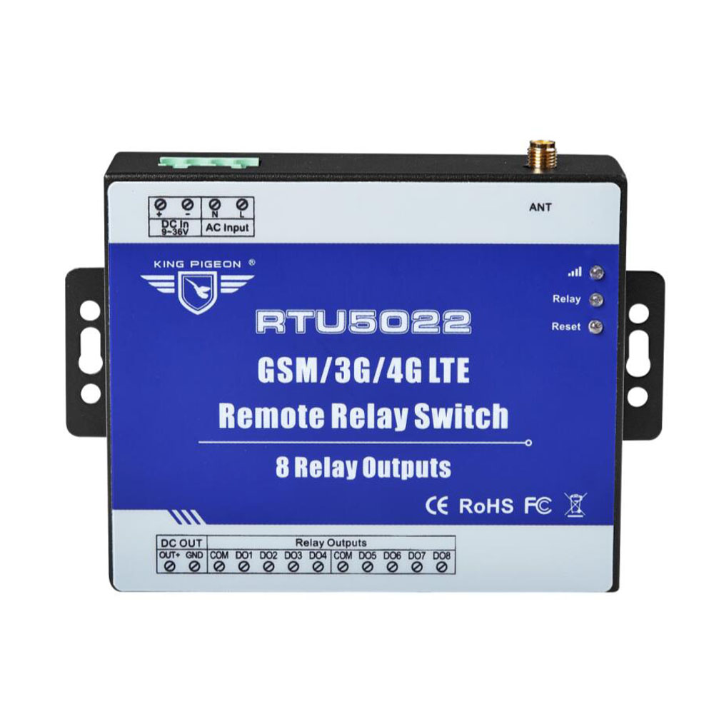 Modbus RTU Industrial Class GSM/3G/4G SMS Remote Relay Switches support TCP/IP for IOT Devices 8 Relay Outputs RTU5022 s265 direct factory gsm sms gprs 3g 4g temperature