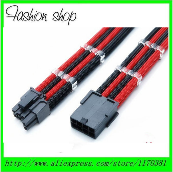30cm 6 Pin PCI-E GPU Sleeved Black /& Red Power Supply PSU Extension Cable