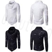 Nueva moda hombres manga larga Ripped Pullovers camiseta de Color puro Hip  hop ropa agujero cuello 1ade3ee2244
