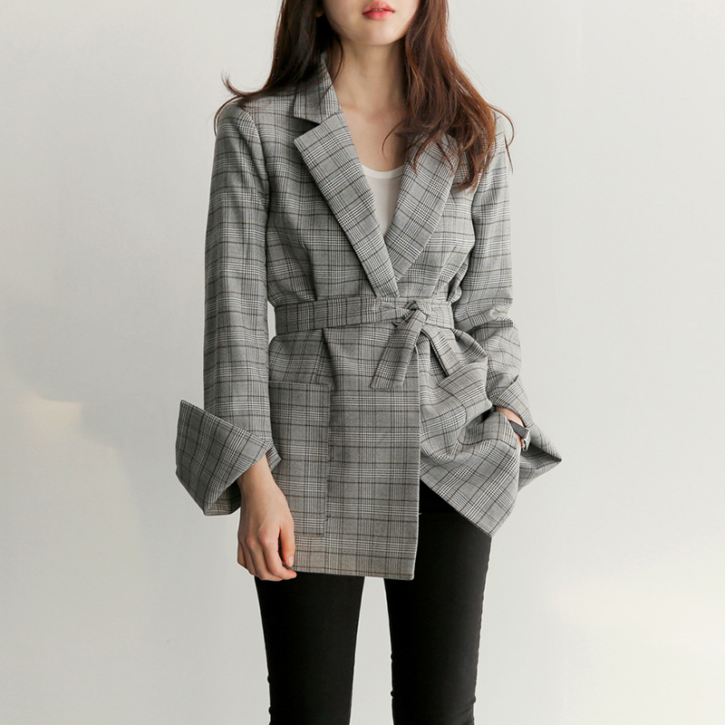 New Fashion Women Professional Temperament Plaid Blazers Fashion OL Slim Comfortable Work Style Lady Vintage Elegant Suit Jacket