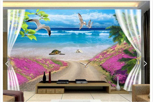 Customized 3d Photo Wallpaper 3d Wall Murals Wallpaper Flower Sea View  Outside The Window Background Wall