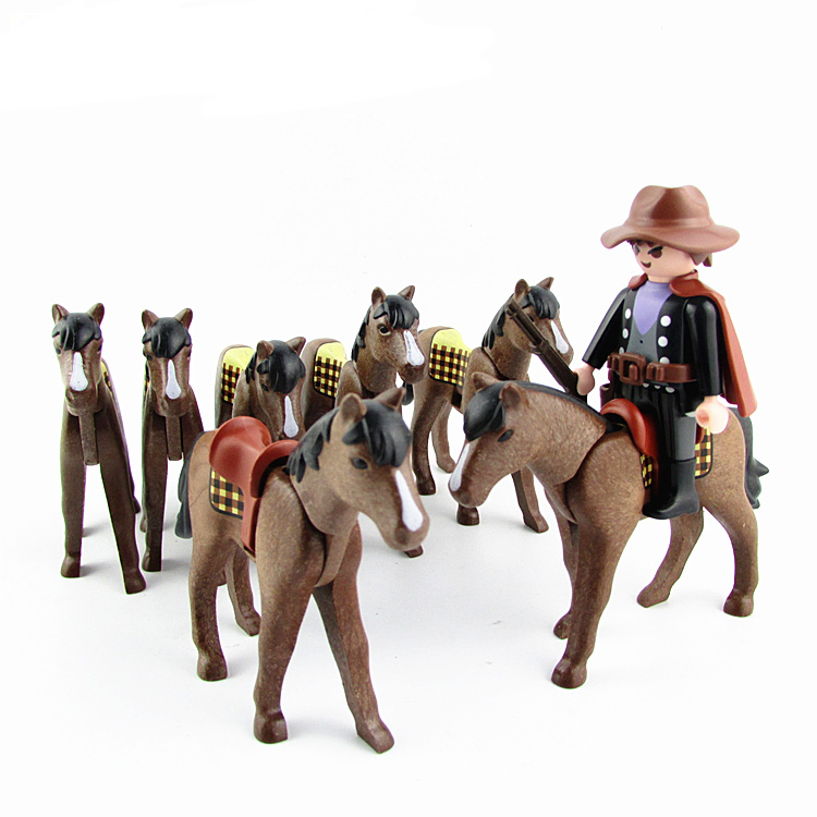 Joyendless  Playmobil Horse Saddle Knight Action Figures Castle Child Small People Model Doll Role Play Toy X015
