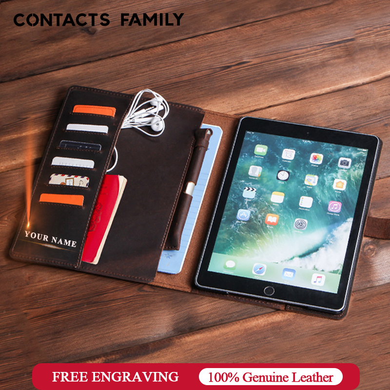 Temperate Luxury Retro Nubuck Leather Case For Ipad 9.7 2018 5 6 Air 2 Pro 9.7 Cover With Card Slots Pocket Pencil Holder Flip Stand Case