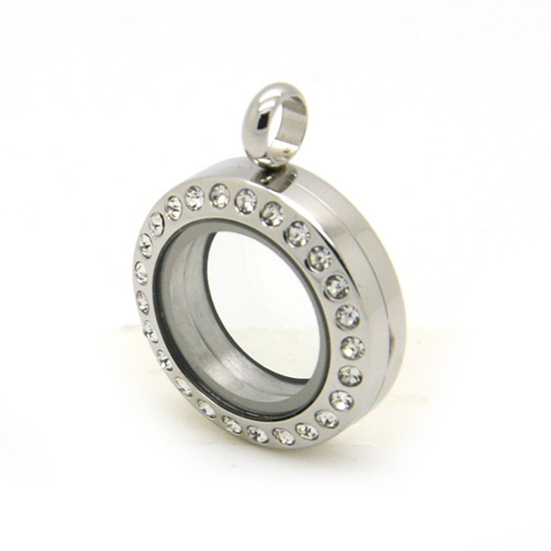 10Pcs lot 20mm silver stainless steel with crystal floating locket magnetic open locket pendant