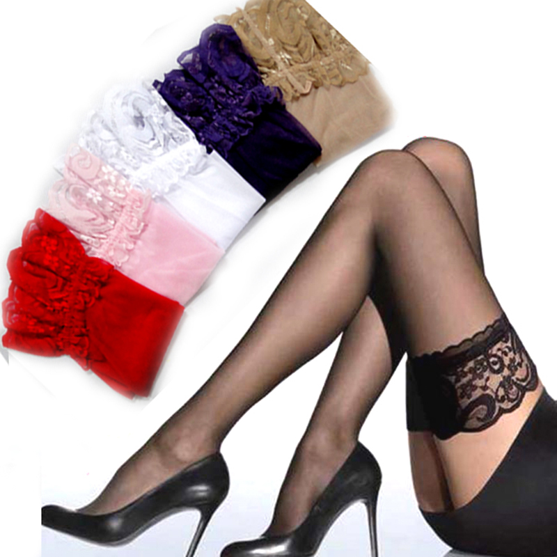 1Pair Hot Sexy Women Girl Lace Top Thigh High Stockings Nightclubs Pantyhose Show Thin Lace Silk Sexy Stockings 6 Colors N84 Z15 women ultrathin lace top sheer thigh high silk stockings fashion style new gh