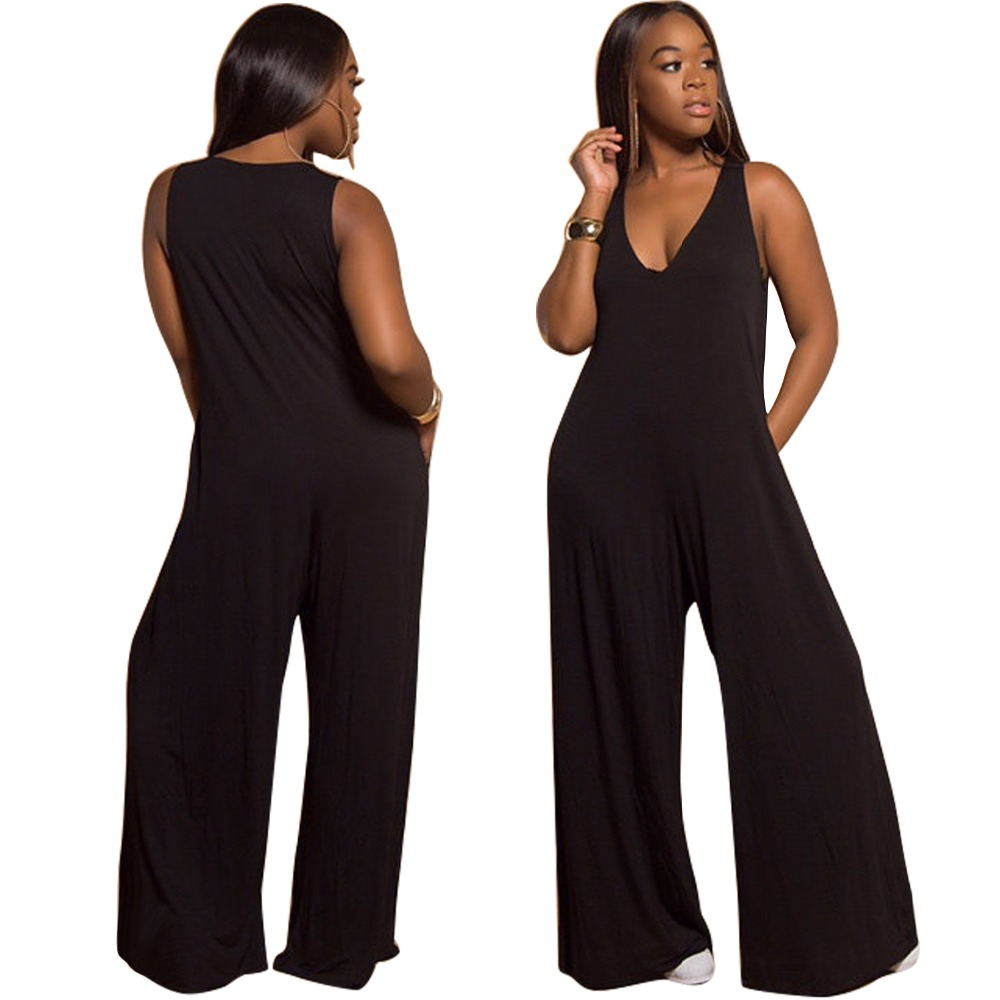 Party Lady Women's Summer   Jumpsuit   Romper Sexy Sleeveless V Neck Rompers Wide Leg Pants Party Club Black Fashion One Piece Pants