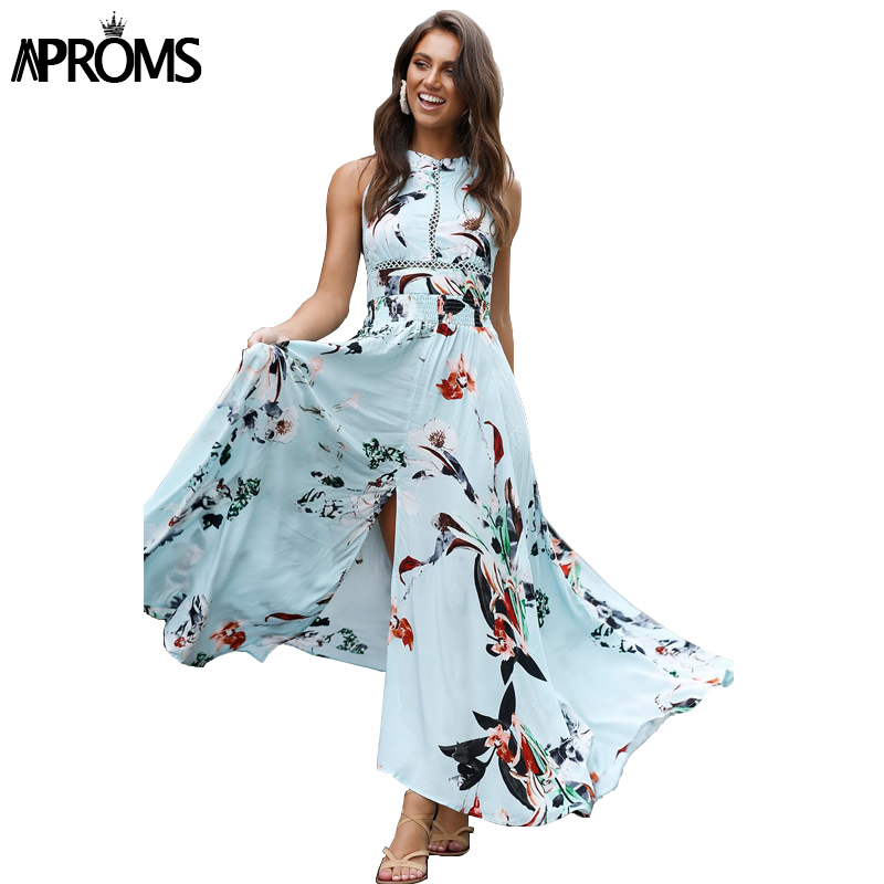 Aproms Bohemian Flower Print Summer Maxi Dress Women Robe Sexy Backless Beach Long Dresses Split Sundress