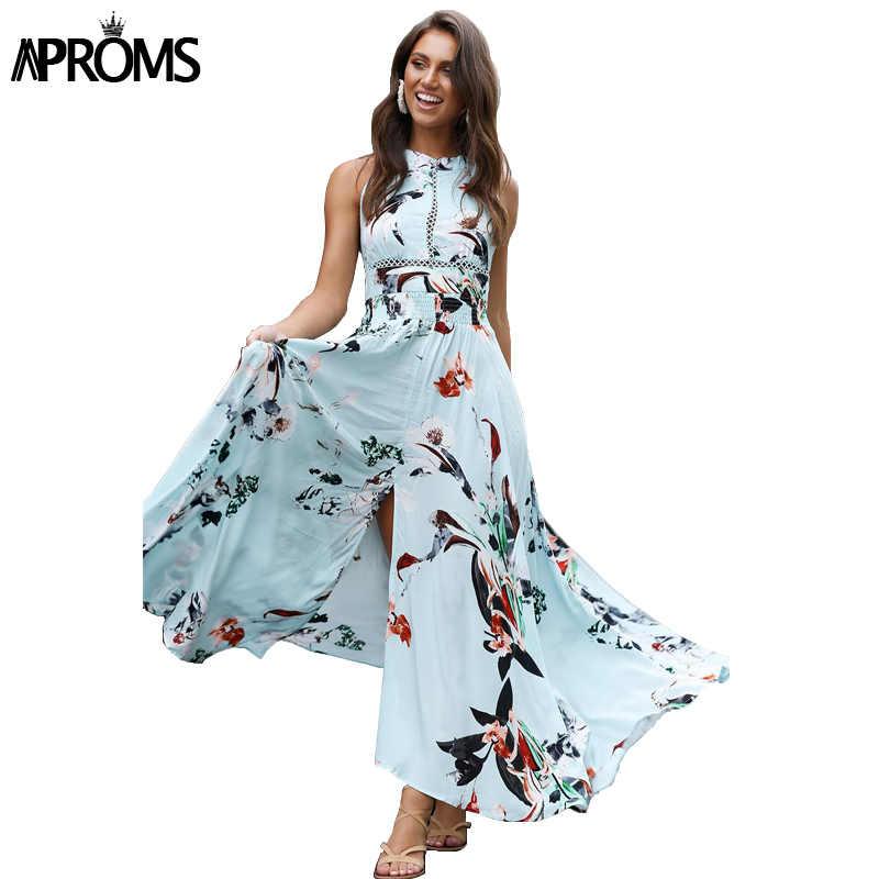 3cd4c904eaabc Aproms Bohemian Flower Print Summer Maxi Dress Women Robe Sexy ...