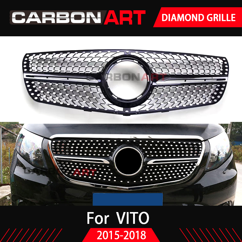 Diamond Grille Black Silver Chrome For Mercedes for Vito Front Bumper Racing Grill 2015 2016 2017