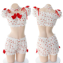 Sexy & Sweet Strawberry Print Lingerie Transparent Set Uniforms School Girl Kawaii Anime Cosplay Bowknot Pajamas with Choker