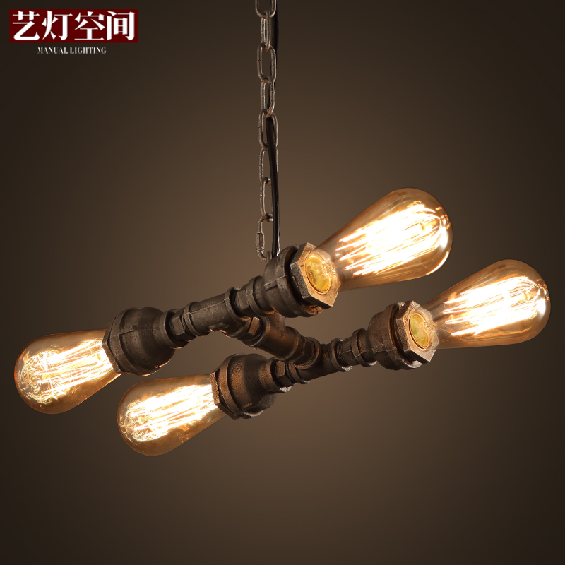 American Countryside Loft Style Wrought Iron Water Pipe Pendant Light Restaurant Decoration Light Cafe Light Free Shipping industrial style restaurant light solid wood dinging room pendant light american country wrought iron cafe lights free shipping