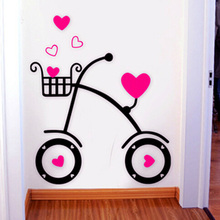 Sweet Love Bicycle Acrylic Sticker Living Room Hallway Bedroom Wall Pink Red Decorations