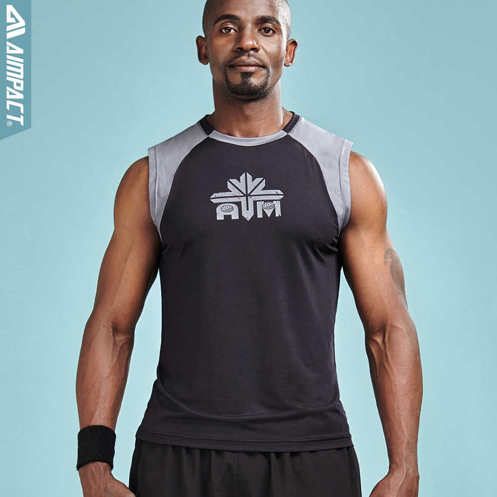 Aimpact 2 шт./партия майки для мужчин летние быстросохнущие рубашки без рукавов Мужская Спортивная майка для фитнеса Мужская брендовая одежда 2AM1022X