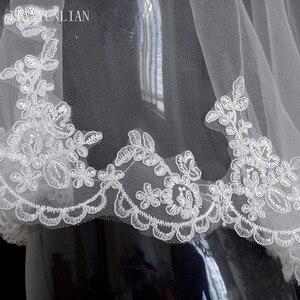 Image 4 - Promoción, velo de novia blanco y marfil, 1,5 metros de velo de novia, accesorios de boda, velos de tul con borde de encaje a la moda