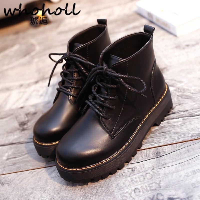Plat Bottes Souple Whoholl marron Vintage Mode À Classique Lacets Confortables Chaussures Cheville En New Femmes Cuir Noir wqXB8Sqzr