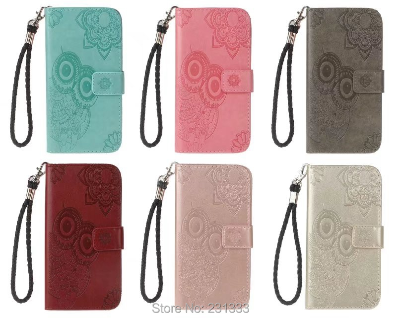 For Iphone X 8 8TH 7 PLUS 6 6S SE 5 5S IphoneX Flower OWL Strap Wallet PU Leather Pouch Case TPU ID Card Stand Skin Cover 50PCS