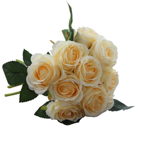 Image 4 - 1 buket 10 adet yapay kırmızı gül kafa çiçek düğün gelin ipek buket doğum günü partisi sevgililer günü ev dekorasyon