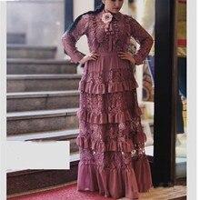 Women Lace Layered Dress Long Maxi Cascading Ruffle Dress High Waist Elegant Dress недорого