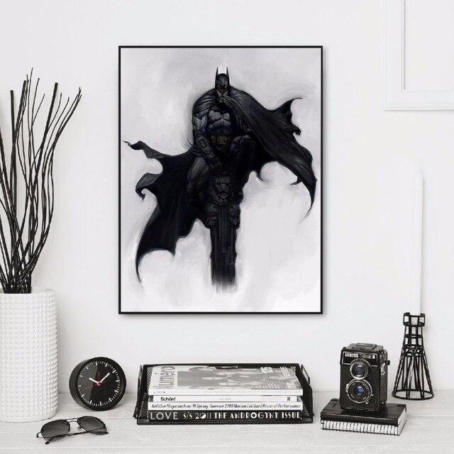 Sans Cadre Noir Blanc Minimaliste Batman Illustration Noir Art