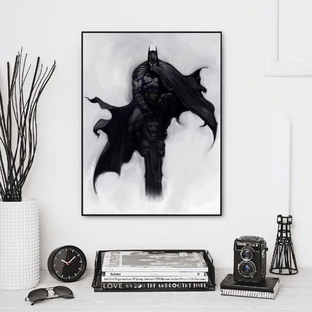 Unframed Black White Minimalist Batman Artwork Art Wall Paintings Print With Canvas Home Decor As