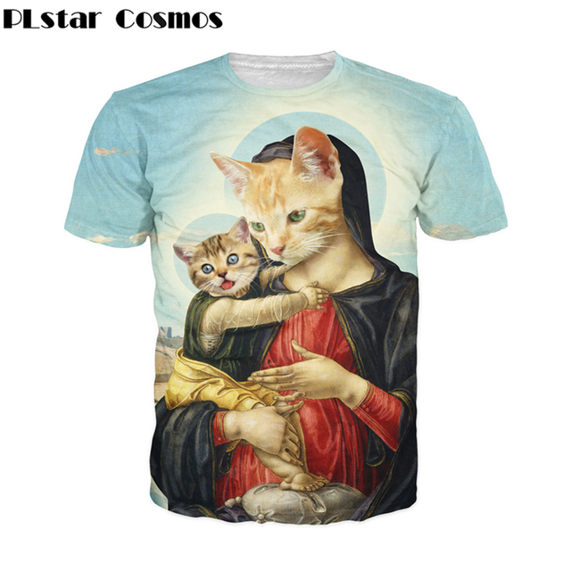 f46d17c17 PLstar Cosmos Funny Holy Mother and Kitten 3d print T-shirts Renaissance  period cat tees Women Men Summer Style casual t shirt