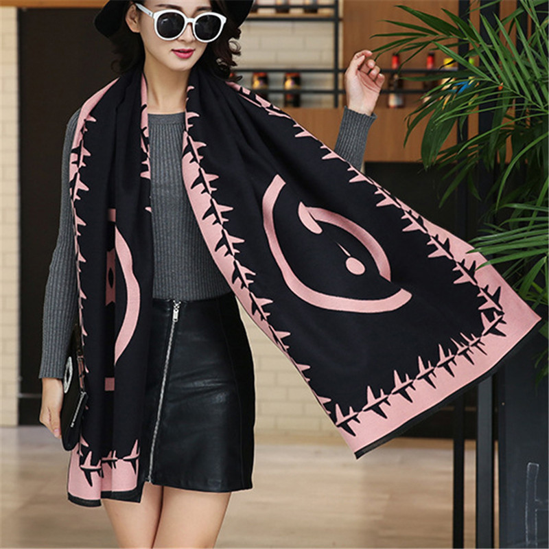 CW imitation cashmere aircraft question mark circle hair trim scarf for women winter warm accessories jacket dress 190 * 65CM