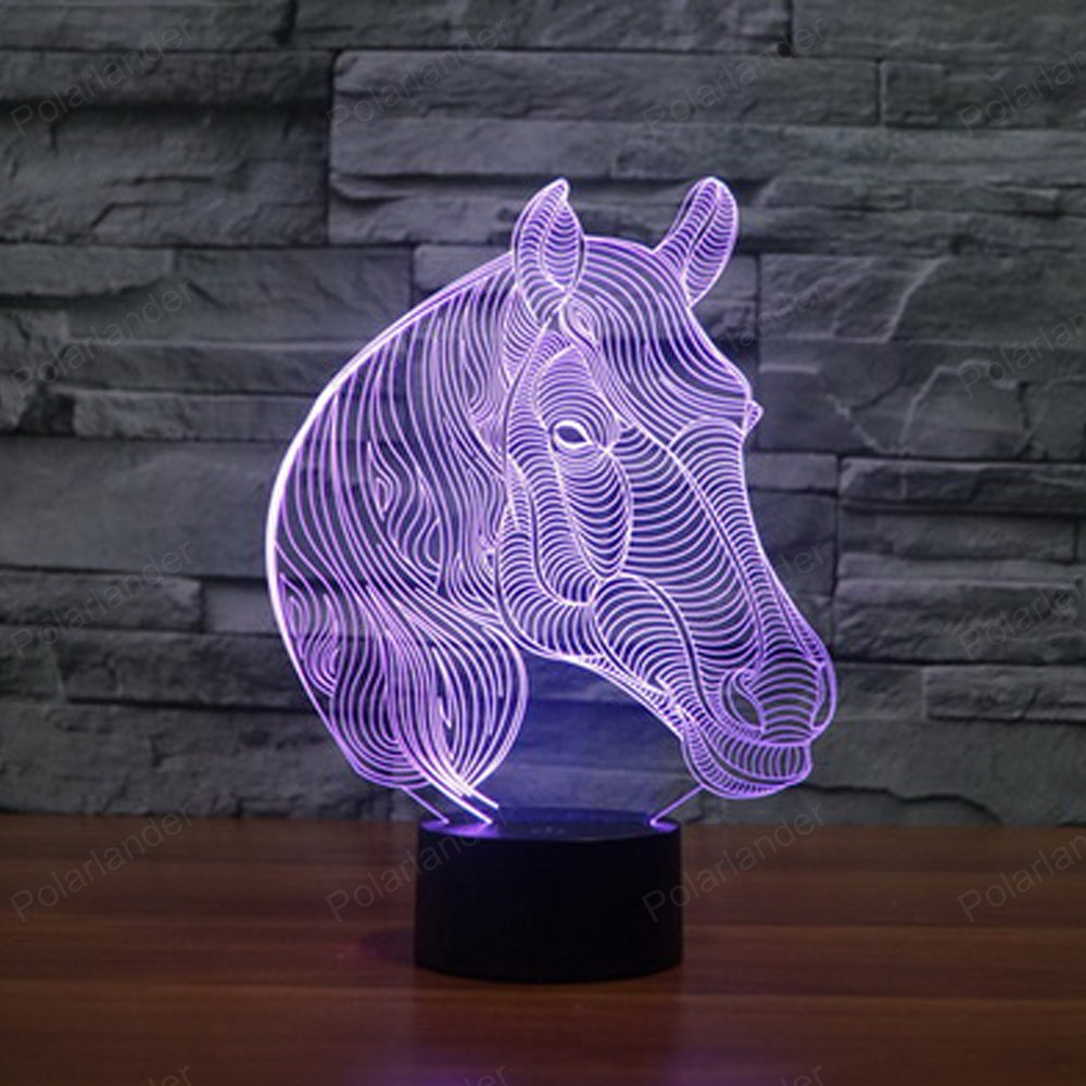 Colorful 3d Creative Led Horse Visual Illusion Lights Sleeping Light Action  Figures Touch Sensor Table Lamp