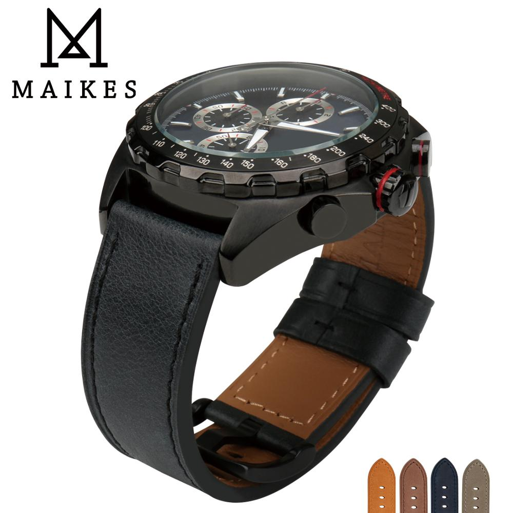 MAIKES Watch Strap Watch Accessories Genuine Leather 24mm 22mm Luxury Black Watch Band Wrist Watch Watchband For Panerai Omega eache 20mm 22mm 24mm 26mm genuine leather watch band crazy horse leather strap for p watch hand made with black buckles