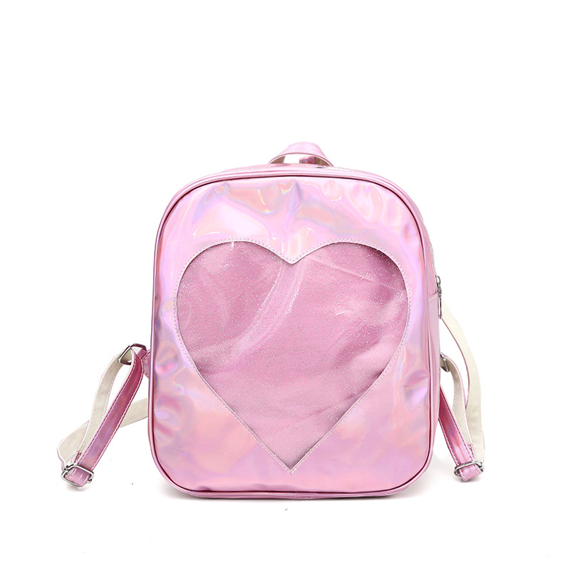 958f38253f93 Women Backpack Transparent Heart Pattern Lolita Student School Bag Backpack  Candy Color Lovely Ita Bag Sweet